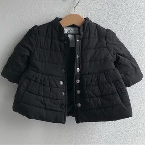 Janie&Jack baby girl black quilted coat 3-6m